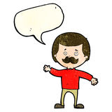 Cartoon dad waving with speech bubble Royalty Free Stock Images