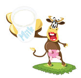 Cartoon Dairy Cow. With glass of milk Stock Photography