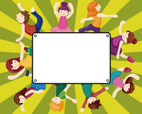 Cartoon dancer card Stock Photo