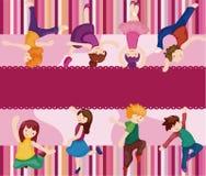Cartoon dancer card Stock Images