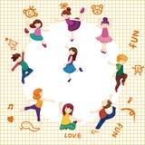 Cartoon dancer card Royalty Free Stock Photos