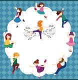 Cartoon dancer card Stock Photo