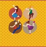 Cartoon dancer card Stock Image