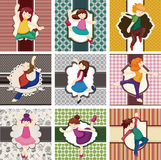 Cartoon dancer card Royalty Free Stock Image