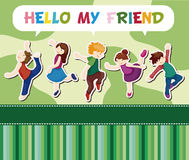 Cartoon dancer card Royalty Free Stock Images