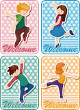 Cartoon dancer card Stock Photography