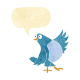 Cartoon dancing bluebird with speech bubble Royalty Free Stock Images
