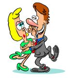 Cartoon dancing couple. Cartoon caricature of middle aged couple dancing Royalty Free Stock Photo
