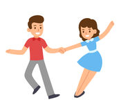 Cartoon dancing couple. Cute cartoon retro dancing couple. Swing dance, Lindy hop. Vector illustration Royalty Free Stock Photography