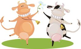 Cartoon dancing cow Royalty Free Stock Photography