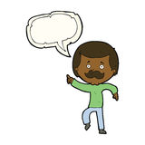 Cartoon dancing dad with speech bubble Stock Photography