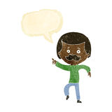 Cartoon dancing dad with speech bubble Royalty Free Stock Images