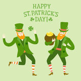 Cartoon dancing leprechauns Royalty Free Stock Images