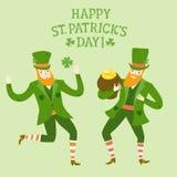 Cartoon dancing leprechauns Royalty Free Stock Images
