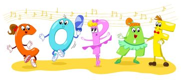 Cartoon dancing letters vector  Royalty Free Stock Photo