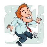 Cartoon dancing office worker Stock Photos