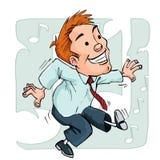 Cartoon dancing office worker. Music note design behind Stock Photos