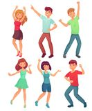 Cartoon dancing people. Happy dance of excited teenager, young women men character at party. Celebrating dances vector. Cartoon dancing people. Happy dance of vector illustration