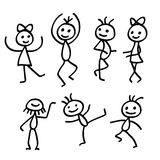 Cartoon Dancing People isolated on white background Stock Photography