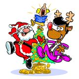 Cartoon dancing Santa and Rudolph Stock Images