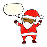 Cartoon dancing santa with speech bubble Stock Photography