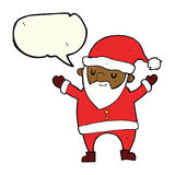 Cartoon dancing santa with speech bubble Stock Photos