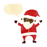 Cartoon dancing santa with speech bubble Royalty Free Stock Photos