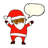 Cartoon dancing santa with speech bubble Stock Image