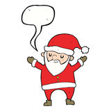 Cartoon dancing santa with speech bubble Royalty Free Stock Images