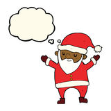 Cartoon dancing santa with thought bubble Royalty Free Stock Image