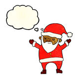 Cartoon dancing santa with thought bubble Stock Images