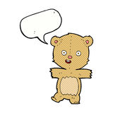 Cartoon dancing teddy bear with speech bubble stock illustration