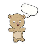 Cartoon dancing teddy bear with speech bubble Royalty Free Stock Photography