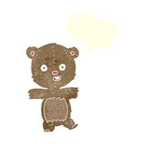 Cartoon dancing teddy bear with speech bubble Royalty Free Stock Images