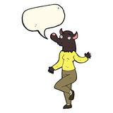 cartoon dancing werewolf woman with speech bubble Royalty Free Stock Images