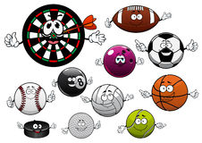 Cartoon dartboard, puck and sport balls Royalty Free Stock Photography