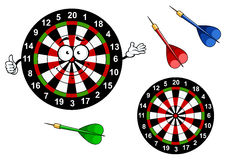 Cartoon dartboard target character with colorful Royalty Free Stock Photography