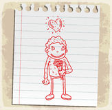 Cartoon date love on paper note, vector illustration Stock Photos