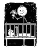 Cartoon of Dead Tired Father Entertaining Baby in Night With Rattle. Cartoon stick figure drawing conceptual illustration of dead tired parent or father vector illustration