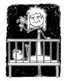 Cartoon of Dead Tired Mother Entertaining Baby in Night With Rattle. Cartoon stick figure drawing conceptual illustration of dead tired parent or mother stock illustration