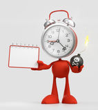 Cartoon Deadline. Alarm clock as a funny character holding bomb and calendar. 3D rendered graphics on the theme of Time Management Stock Photos