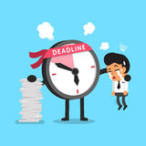 Cartoon deadline clock character and a businessman Royalty Free Stock Image