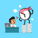 Cartoon deadline clock character and businessman Royalty Free Stock Images
