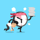 Cartoon deadline clock character and a businessman. For design Royalty Free Stock Images