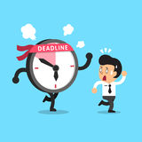 Cartoon deadline clock character and businessman. For design Royalty Free Stock Photography