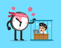 Cartoon deadline clock character with businessman working in prison Royalty Free Stock Photo