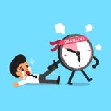 Cartoon deadline clock character dragging businessman Royalty Free Stock Photos