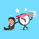 Cartoon deadline clock character dragging businessman Royalty Free Stock Photography