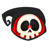 Cartoon death head icon. Halloween vector icon of death skull mascot isolated on white background. Grim reaper. Royalty Free Stock Photo