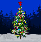 Cartoon decorated Christmas tree in winter forest Royalty Free Stock Photography